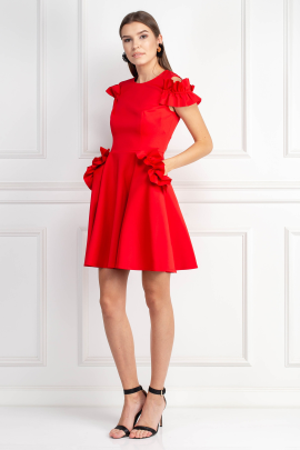 Ruffle Detail Bright Red Dress-1