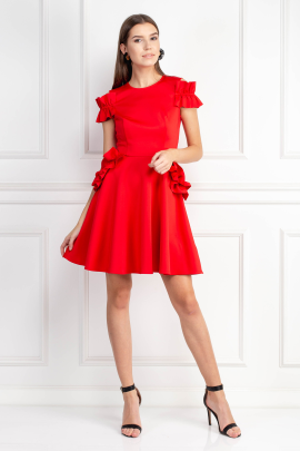 Ruffle Detail Bright Red Dress-0