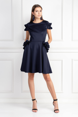 Ruffle Detail Navy Dress-0