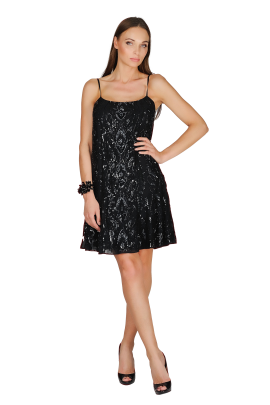Ebony Sequined Crepe Dress-1