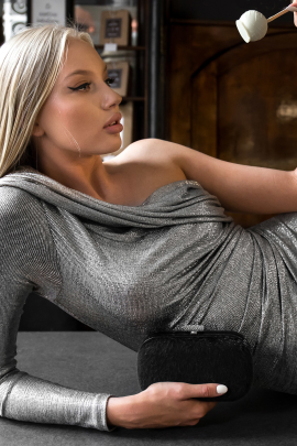 Metallic Stretch-Jersey Dress -1