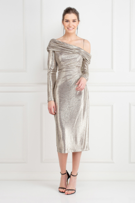 Metallic Stretch-Jersey Dress -0