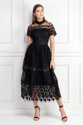 Black Guipure Dress-0