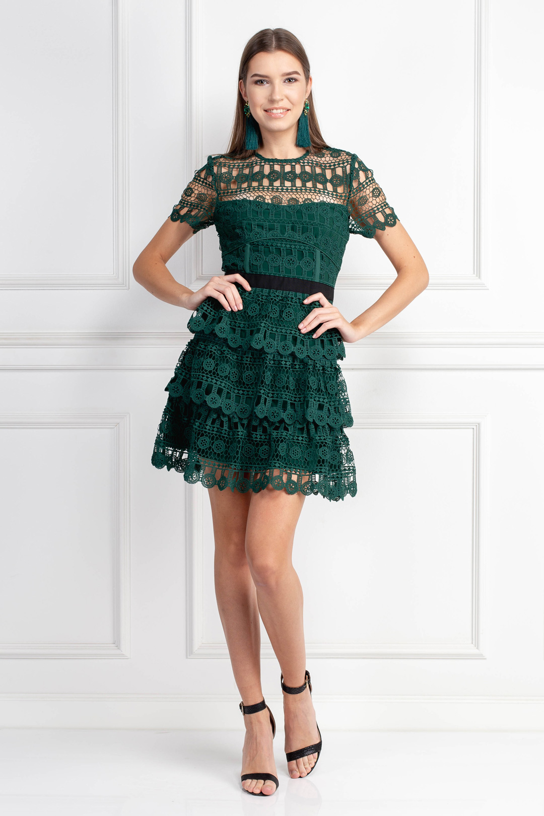 Tiered Guipure Green Dress