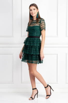Tiered Guipure Green Dress -1