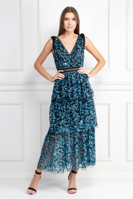 Tiered Sequin Midi Dress-1