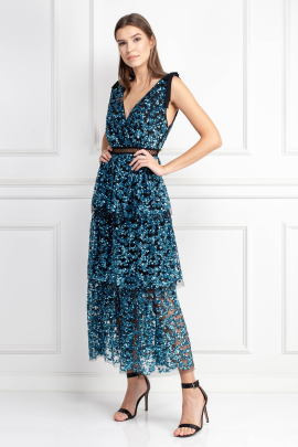 Tiered Sequin Midi Dress-0