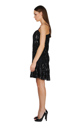 Ebony Sequined Crepe Dress-2