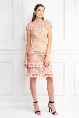 Dress With Tiered Lace Detailed Skirt -0