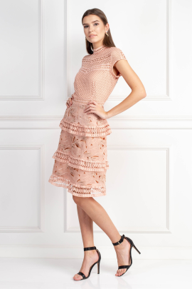 Dress With Tiered Lace Detailed Skirt -1