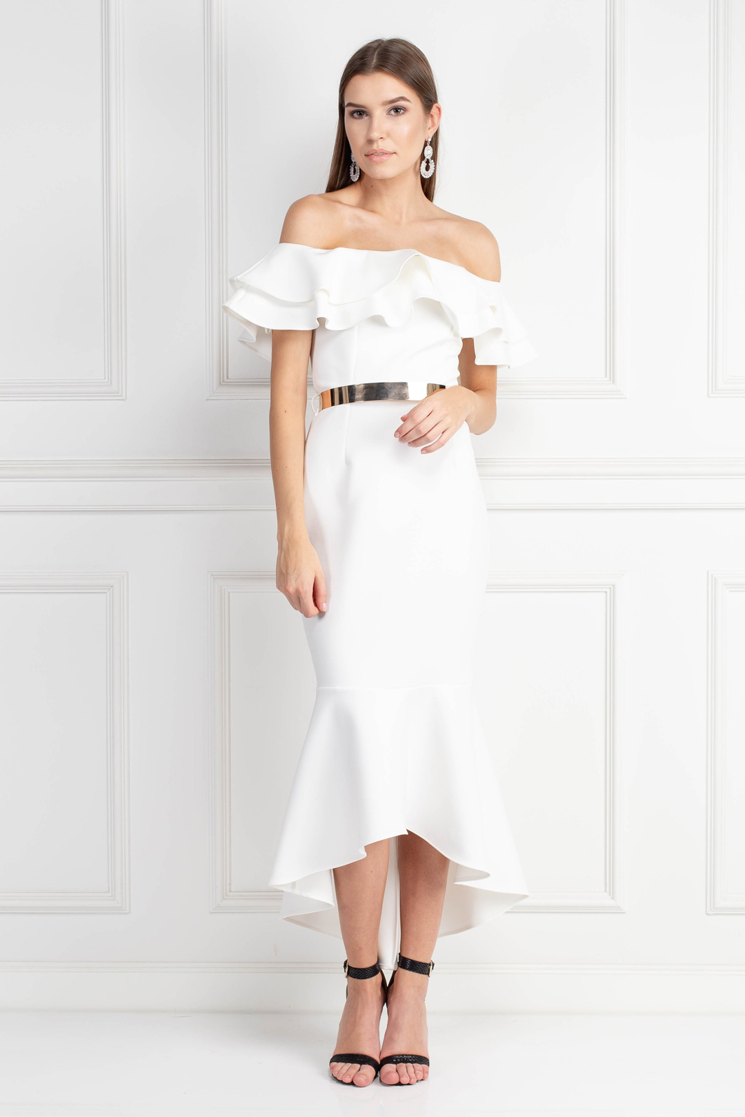 Ivory Midi Dress With Belt Detail