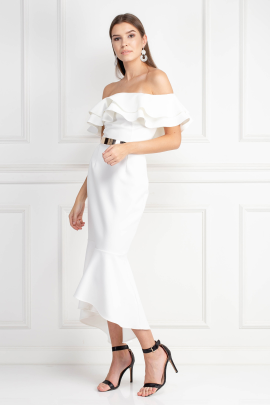 Ivory Midi Dress With Belt Detail -1