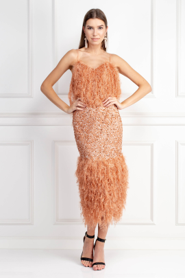 Feather Trim Sequin Midi Dress -0