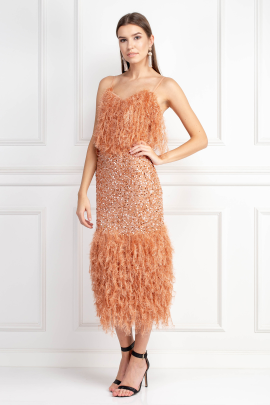 Feather Trim Sequin Midi Dress -2