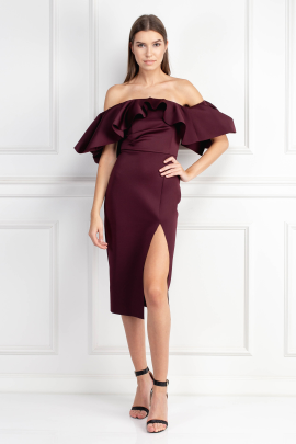 Extreme Ruffle Bardot Midi Dress-0
