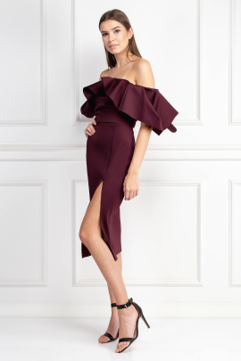 Extreme Ruffle Bardot Midi Dress-1