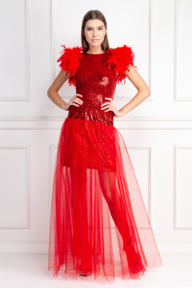 Red Feather Dress-0