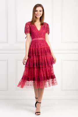 Raspberry Tulle Midi Dress-0