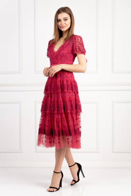 Raspberry Tulle Midi Dress-1