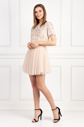 Embellishment Tulle Mini Dress-1