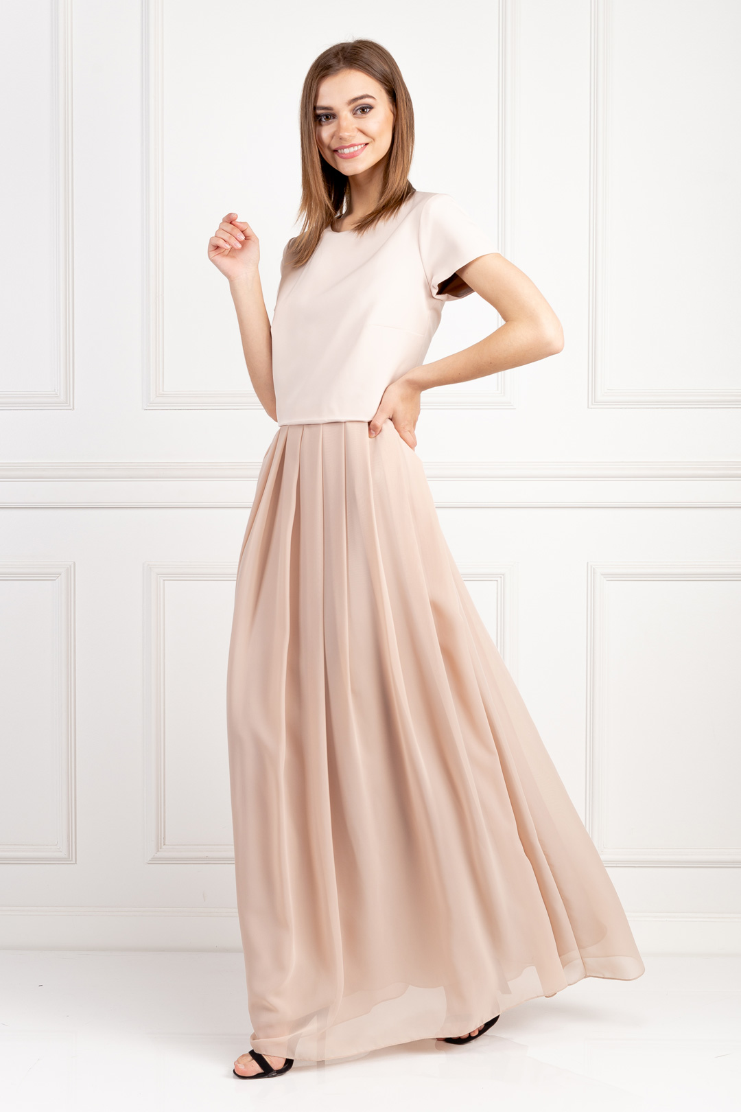 Nude Crepe Dress