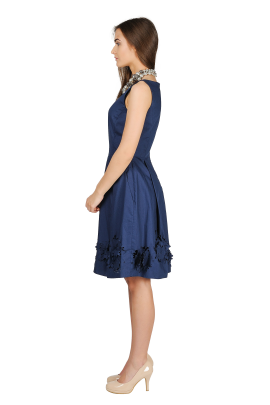 Navy Dress With cuted Flowers-1