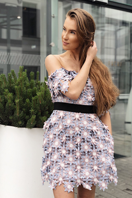 3D Floral Mini Dress / VILNIUS-0