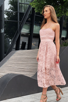 Mesh Lace Pink Dress / VILNIUS-0