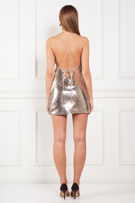 Gold Sequin Mini Dress-2