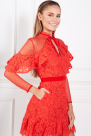 Velvet-Trimmed Guipure Lace Mini Dress