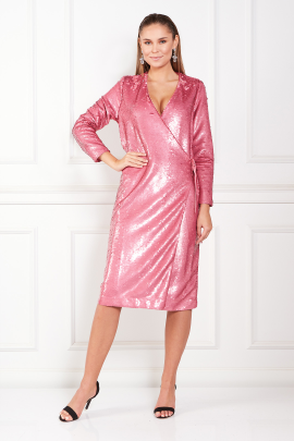 Sequined Satin Wrap Pink Dress-0