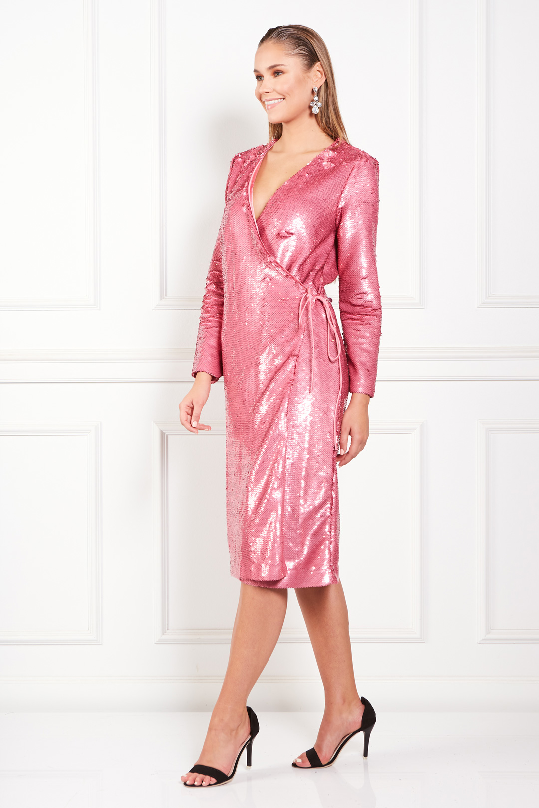 Sequined Satin Wrap Pink Dress