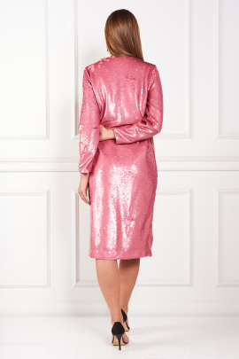 Sequined Satin Wrap Pink Dress-3