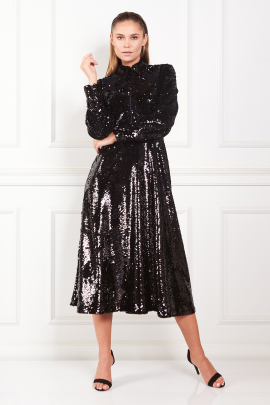 Sequined Crepe Midi Black Dress-1