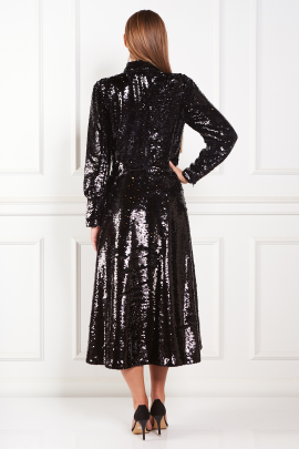 Sequined Crepe Midi Black Dress-2
