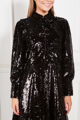 Sequined Crepe Midi Black Dress-3