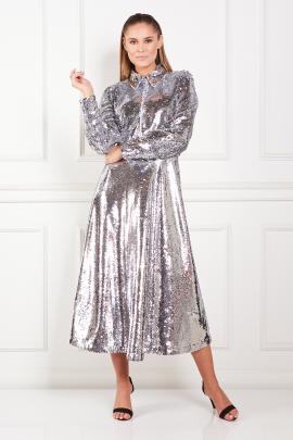 Sequined Crepe Midi Dress-0