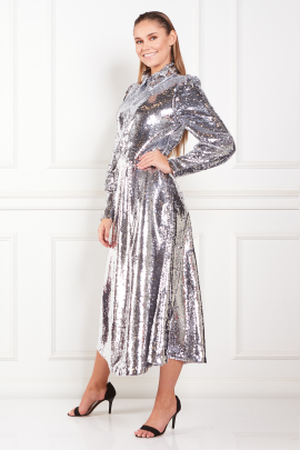 Sequined Crepe Midi Dress-1