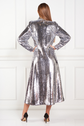 Sequined Crepe Midi Dress-2