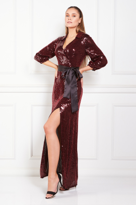 Satin Trimmed Sequined Chiffon Maxi Dress-2