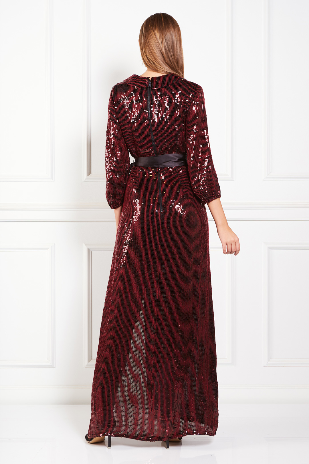 Satin Trimmed Sequined Chiffon Maxi Dress