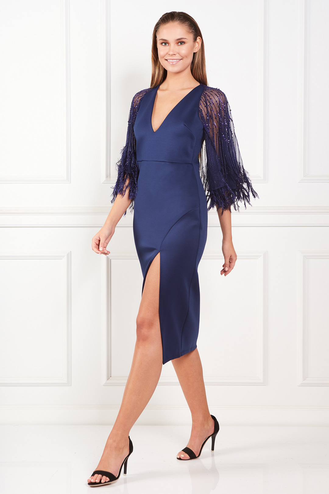 Faux Feather Cape Midi Dress