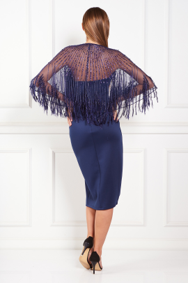 Faux Feather Cape Midi Dress-3