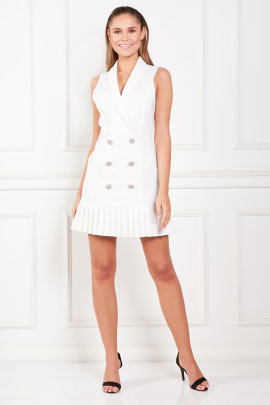 White Dress With Pleated Hem-0