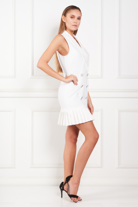 White Dress With Pleated Hem-1