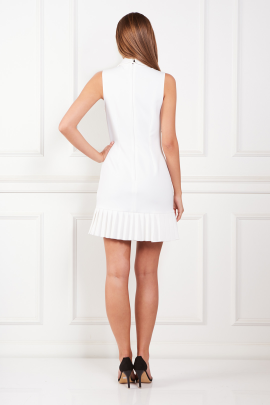 White Dress With Pleated Hem-2