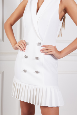 White Dress With Pleated Hem-3