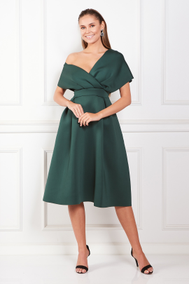 Fallen Shoulder Green Dress -0