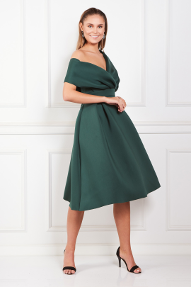 Fallen Shoulder Green Dress -1