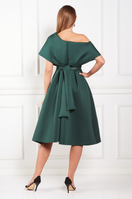 Fallen Shoulder Green Dress -2